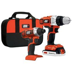 Black & Decker 20V 2-Kit Impact Driver and Drill with 1 Batt