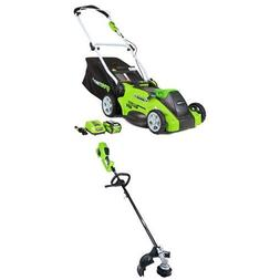 Greenworks 16-Inch 40V Cordless Lawn Mower with 14-Inch 40V