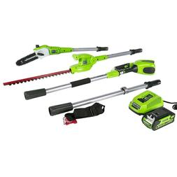 Cordless Pole Saw with Hedge Trimmer Attachment 2.0 AH Batte