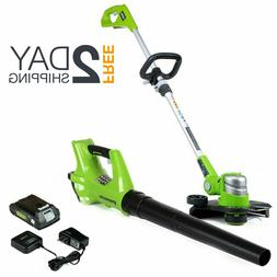 Cordless String Trimmer And Blower Attachment Combo Kit With