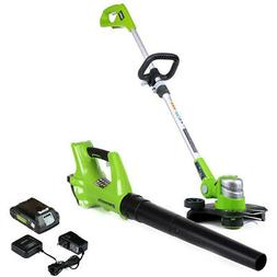 Green Works Ultimate Cordless Combo Pack Lawn Edger Leaf Blo
