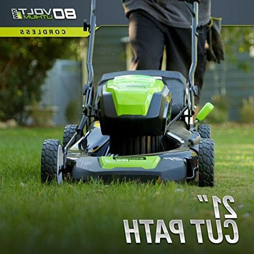 Greenworks 2502202 80V Lithium-Ion 21 in. Lawn