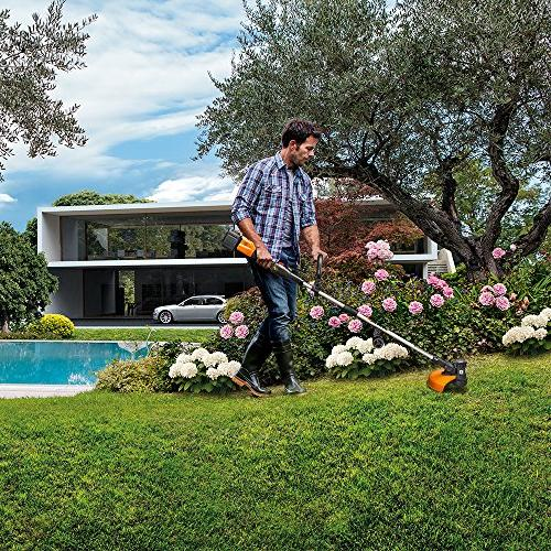 Worx WG184 Cordless Grass Trimmer/Edger in-Line Feed, hr. Charger, Batteries